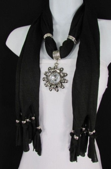 Alwaystyle4you Women Soft Fabric Black Scarf Long Necklace Big Flower Sun Pendant Image 7