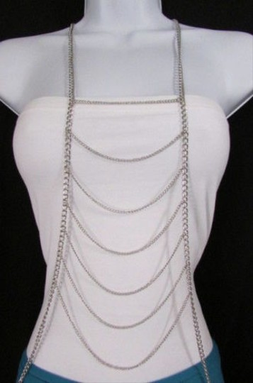 Other Women Silver Long Waves Metal Body Chain Front Necklace Fashion Jewelry