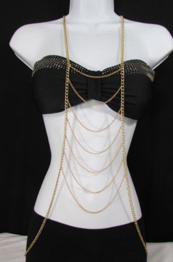 Other Women Gold Metal Body Chain Front Necklace Las Vegas Fashion Jewelry Lv