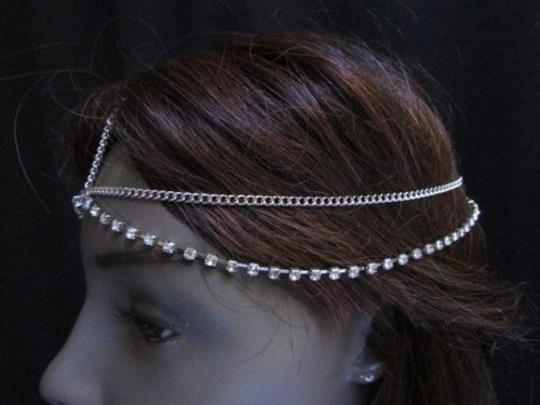 Other Women Silver Metal Head Chain Fashion Hair Band Jewelry Rhinestones Strand