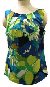 Trina Turk Summer Sleeveless Spring Floral Top Blue & Green