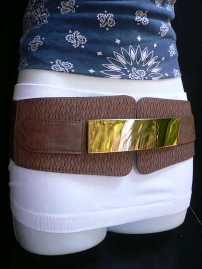 Other Women Elastic Hip Waist Brown Wide Fashion Belt Long Gold Buckles 26-35