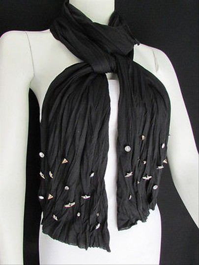 Preload https://item4.tradesy.com/images/women-soft-fabric-fashion-black-scarf-long-necklace-silver-metal-stars-studs-4295593-0-0.jpg?width=440&height=440