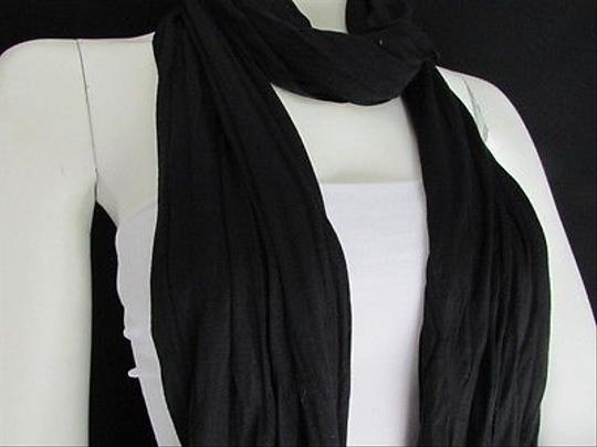 Other Women Soft Fabric Fashion Black Scarf Long Necklace Silver Metal Stars Studs