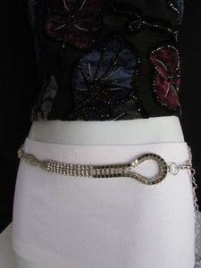 Other Women Silver Mesh Braided Metal Fashion Belt Hip High Waist Rhinestone