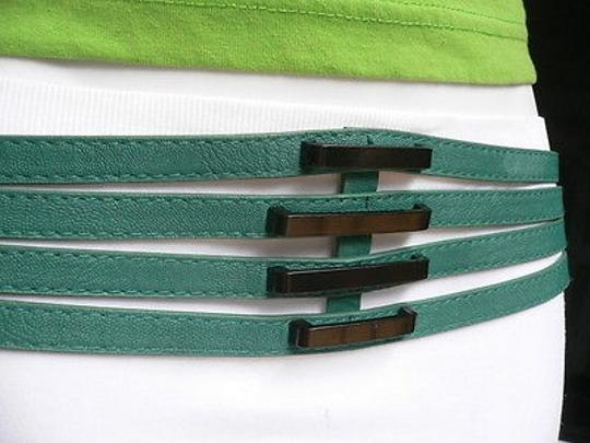Other Women Summer Teal Blue Faux Leather Thin Strips Fashion Belt 30-36 Ml
