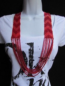 Women Necklace Fashion Red Pink Long Beads Trendy Hawallan Beach Style