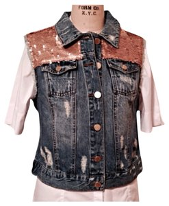 Romeo & Juliet Couture Denim Vince Camuto & Bling Sparkle Vest