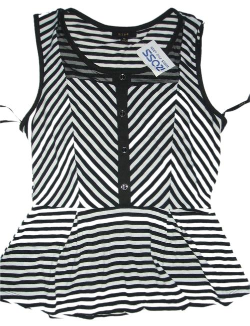 Only Mine Women's Sleeveless White/Black Striped Tank Shirt New Blouse Size 8 (M) Only Mine Women's Sleeveless White/Black Striped Tank Shirt New Blouse Size 8 (M) Image 1