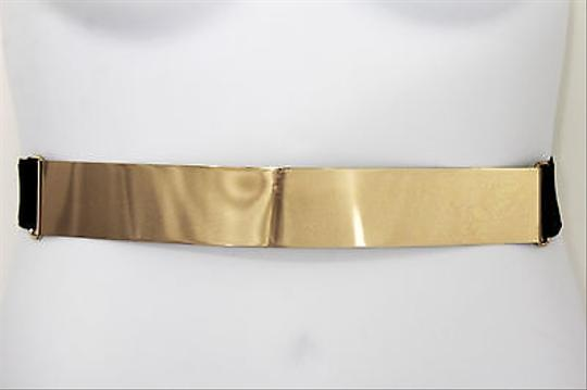 Other Women Belt High Waist Hip Long Gold Metal Plate Fashion Elastic Black