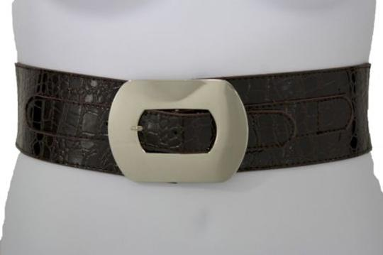 Other Women Fashion Belt Big Silver Buckle Wide Dark Brown Faux Leather Plus