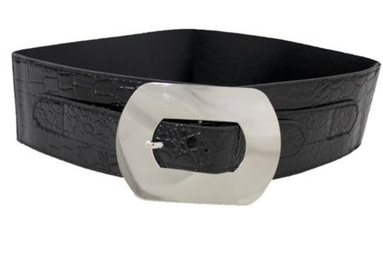 Other Women Fashion Belt Big Metal Silver Buckle Wide Black Faux Leather Plus