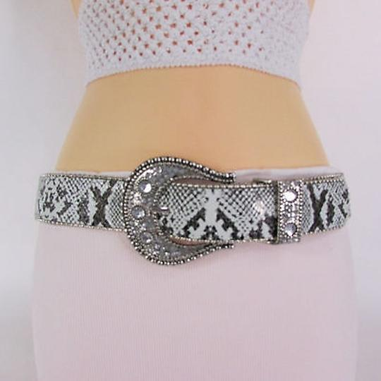 Other Women Belt White Snake Print Faux Leather Fashion Silver Metal Buckle