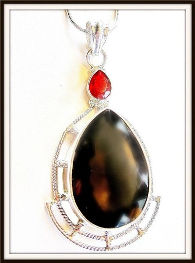 Other Stunning Huge 25ct. Smokey Topaz 925 Sterling Silver Pendant Necklace