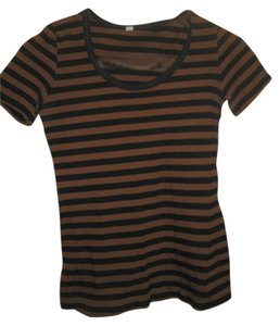 Striped Basic T Shirt brown and black