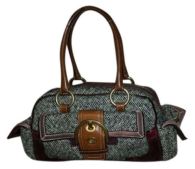 Coach Black/ White /Brown Wool and Leather Satchel Coach Black/ White /Brown Wool and Leather Satchel Image 1