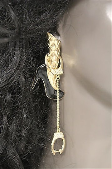 Other Women Fashion Earrings Gold Metal Legs Handcuffs Chains Arrested Hook