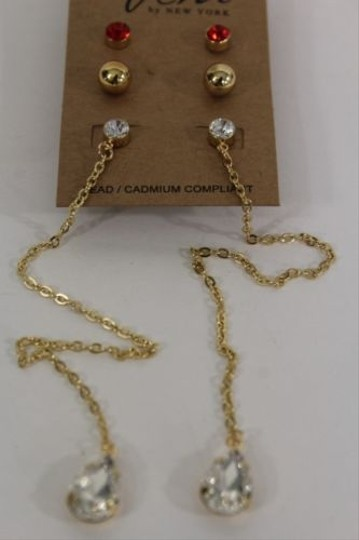 Other Women Fashion Earrings Long Gold Metal Chains Pairs Red Dot Beads