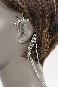 Women Fashion One Side Earring Long Silver Chains Spikes Cuff Hair Pin Claw