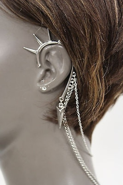 Women Fashion One Side Earring Long Silver Chains Spikes Cuff Hair Pin Claw Women Fashion One Side Earring Long Silver Chains Spikes Cuff Hair Pin Claw Image 1