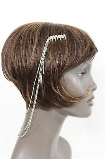 Alwaystyle4you Women One Side Earring Long Silver Chains Spikes Cuff Hair Pin Claw Image 1