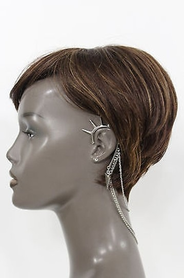 Alwaystyle4you Women One Side Earring Long Silver Chains Spikes Cuff Hair Pin Claw Image 10