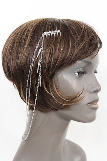 Alwaystyle4you Women One Side Earring Long Silver Chains Spikes Cuff Hair Pin Claw Image 11