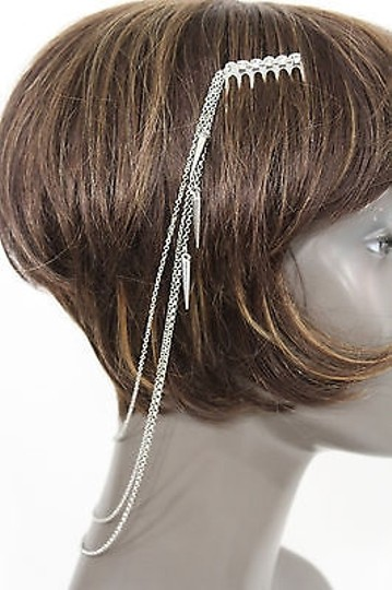 Alwaystyle4you Women One Side Earring Long Silver Chains Spikes Cuff Hair Pin Claw Image 4