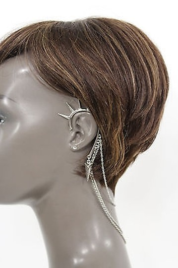 Alwaystyle4you Women One Side Earring Long Silver Chains Spikes Cuff Hair Pin Claw Image 5