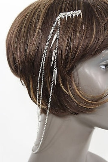 Alwaystyle4you Women One Side Earring Long Silver Chains Spikes Cuff Hair Pin Claw Image 6