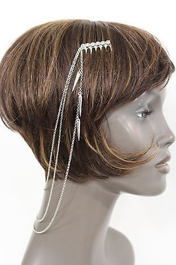 Alwaystyle4you Women One Side Earring Long Silver Chains Spikes Cuff Hair Pin Claw Image 8