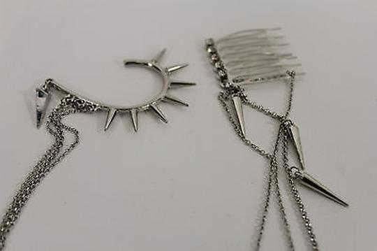 Alwaystyle4you Women One Side Earring Long Silver Chains Spikes Cuff Hair Pin Claw Image 9