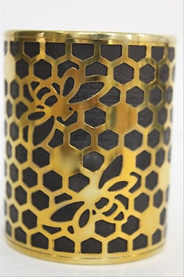 Alwaystyle4you Women Gold Metal Hand Cuff Bracelet Honey Bees Hives Black Image 5