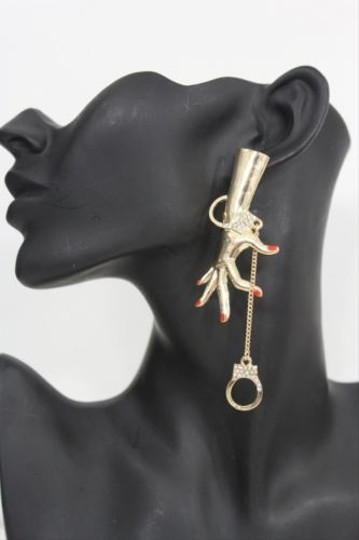 Other Women Fashion Earrings Big Gold Metal Hand Cuffs Chains Arrested Hook