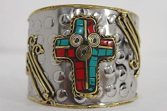 Alwaystyle4you Women Silver Metal Cuff Bracelet Jewelry Big Cross Blue Red Gold Image 1