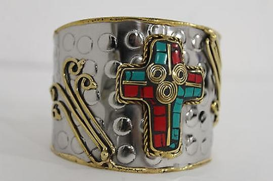 Alwaystyle4you Women Silver Metal Cuff Bracelet Jewelry Big Cross Blue Red Gold Image 10