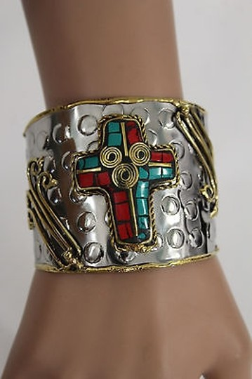Alwaystyle4you Women Silver Metal Cuff Bracelet Jewelry Big Cross Blue Red Gold Image 11