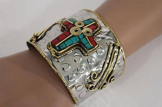 Alwaystyle4you Women Silver Metal Cuff Bracelet Jewelry Big Cross Blue Red Gold Image 6