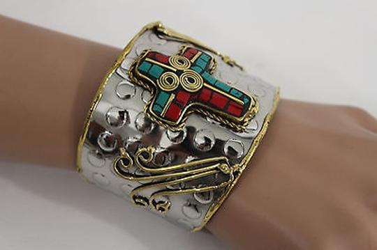 Alwaystyle4you Women Silver Metal Cuff Bracelet Jewelry Big Cross Blue Red Gold Image 9