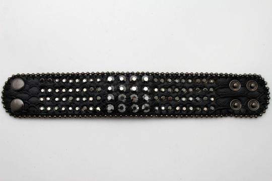 Other Women Black Genuine Leather Fashion Jewelry Bracelet Wide Strap Rhinestones