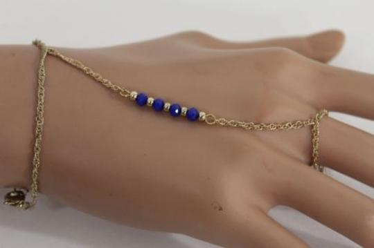 Alwaystyle4you Women Bracelet Gold Metal Hand Chain Slave Ring Blue Beads Charms Image 4