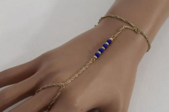 Alwaystyle4you Women Bracelet Gold Metal Hand Chain Slave Ring Blue Beads Charms Image 7