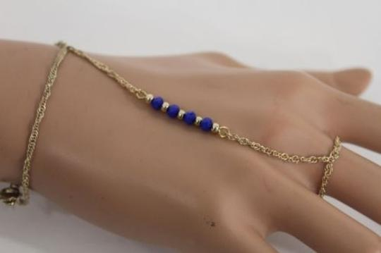 Alwaystyle4you Women Bracelet Gold Metal Hand Chain Slave Ring Blue Beads Charms Image 8