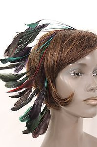 Other Women Fashion Headband Long Feathers Black Multicolor Brown Festival Costume