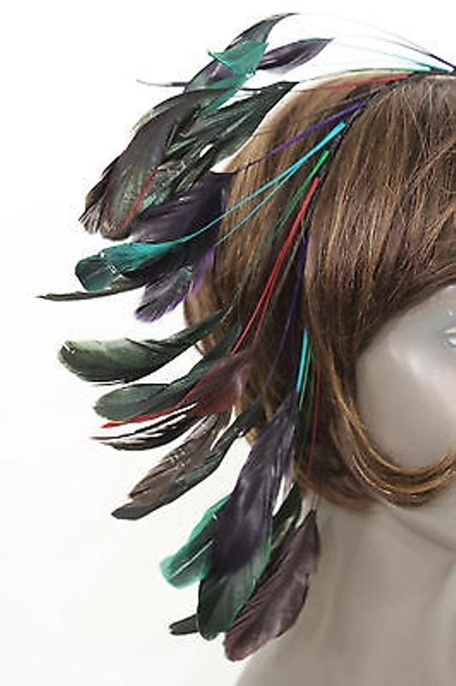 New Women Fashion Headband Long Feathers Black Multicolor Brown Festival Costume