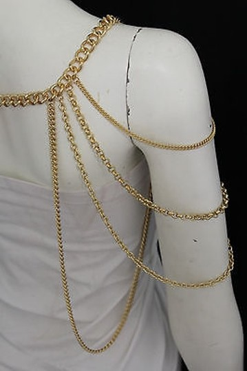 Other Women Gold Shoulder Chunky Metal Thick Chain Fashion Jewelry Sides