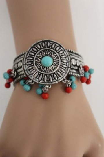 Other Women Antique Silver Metal Bracelet Fashion Jewelry Blue Red Bead Ethnic