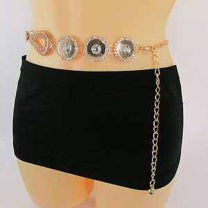 Women Belt Hip High Waist Gold Mesh Metal Chains Fashion Flowers