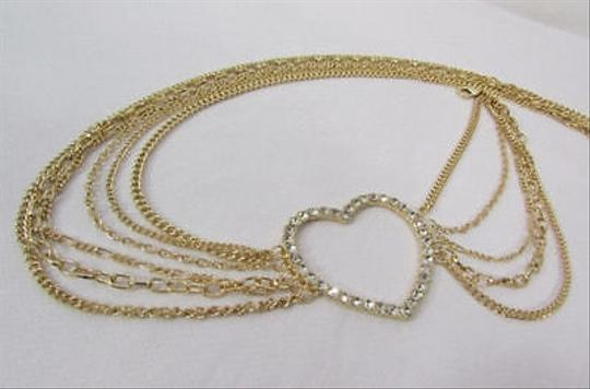 Alwaystyle4you Women Belt Hip Waist Gold Metal Multi Chains Beads Heart Charm Image 2