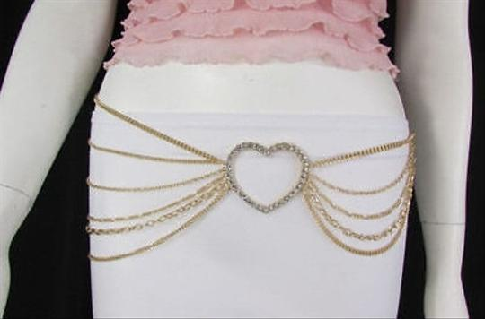 Other Women Fashion Belt Hip Waist Gold Metal Multi Chains Beads Heart Charm